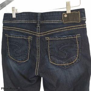 Silver Suki Capri Dark Wash Contrast Stitch Jeans